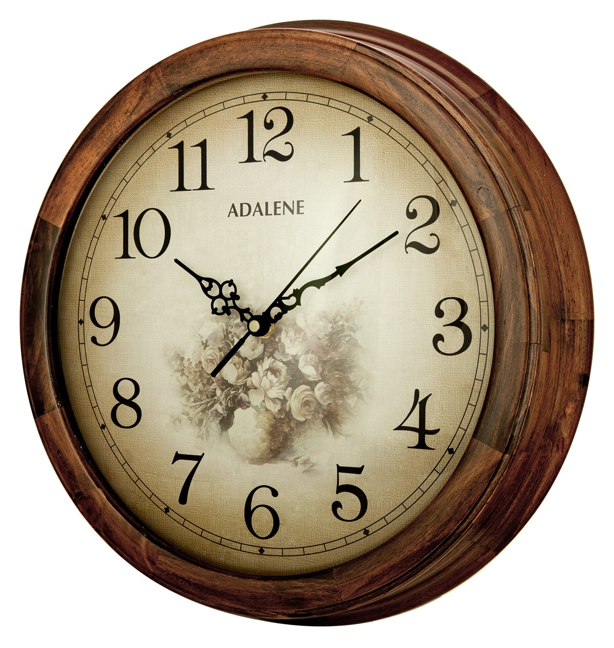 Adalene 14 Inch Wall Clock Large Decorative Living Room Clock U2013 Quiet  Battery Operated Quartz Analog Silent Wood Wall Clock U2013 Round Sepia Flower  Dial With ... Part 61